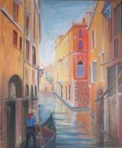 Venice with Gondola. 68cm x 57cm. Oil. £140